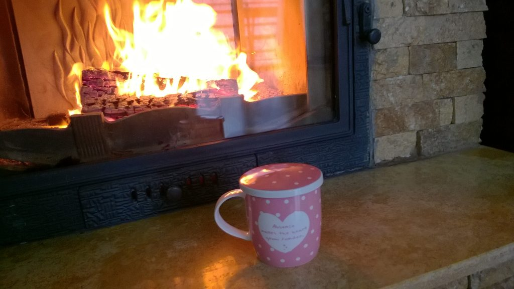 fireplace and tea